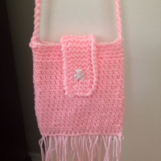 Hand Crocheted Spring, Summer Purse. Had Flap over Closure and Cross Body Shoulder Strap .