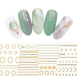 Gold 3D Nail Sticker Lines Strip Geometric Heart Self Adhesive Nail Art Transfer Stickers Manicure