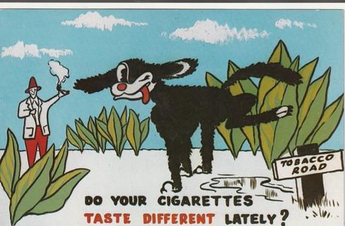 Vintage Unused Postcard: Do Your Cigarettes Taste Different Lately?