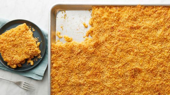 Baked  sheet pan mac & cheese
