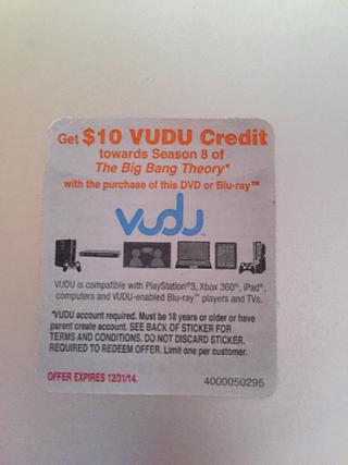 Free: VUDU HD MOVIE CODE $10 CREDIT for Season 8 of Big Bang
