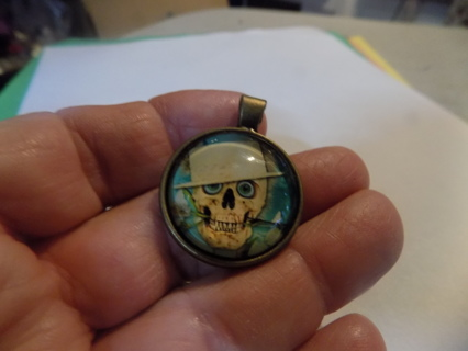 Glass domed pendant charm brass with skeleton head in hat