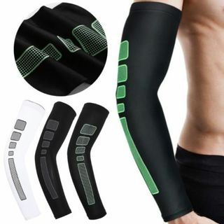 Basketball Cycling Running Anti UV Arm Warmers Sleeve Compression Elbow Pad Cuff