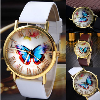 Fashion Women Casual Butterfly Watches Leather Analog Quartz Dress Wrist Watch