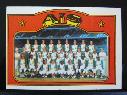 1972 Topps #454 Oakland A's Team Card