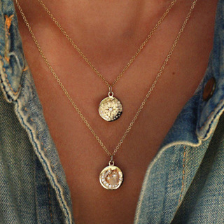 Bohemian Moon Stars Round Crystal Rhinestone Pendant Multilayer Necklace Women Shiny Gold Necklace