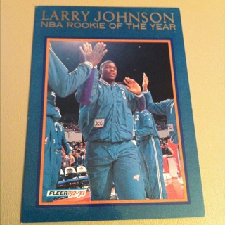 Free Larry Johnson Nba Rookie Of The Year Basketball Card Fleer 92