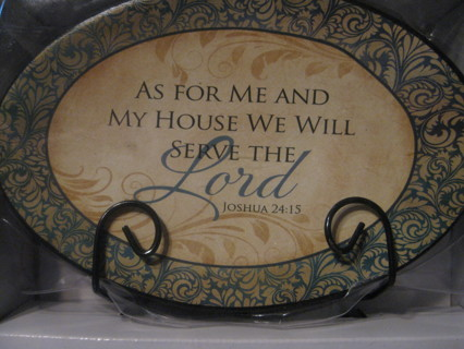 Decorative Plate With Stand As For Me And My House We Will Serve The Lord
