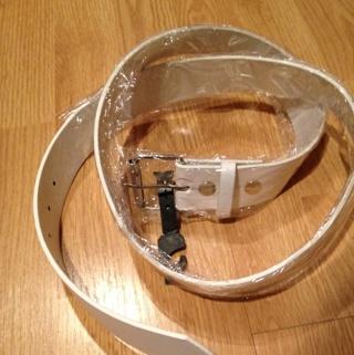 """Unisex New White Leather Belt Size Large 38""""-40"""""""