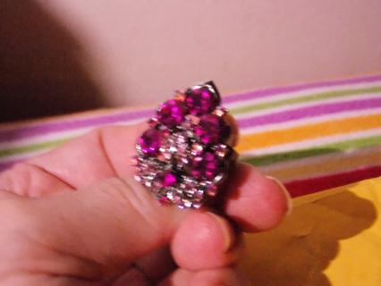 LARGE Purple Bling Rhinestone Ring Adjustable RING that Sparkles- Low GIN & Free Ship.