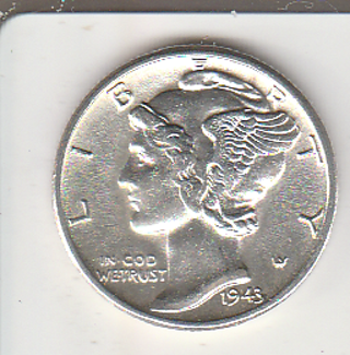 High Grade 1943 Silver Mercury Dime