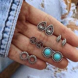 10 Pcs/set Bohemian Retro Gem Leaf Peace Sign Hollow Drops Silver Earrings Set Women Party