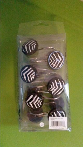 Zebra shower curtain hooks - brand new!