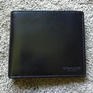 NWOT Black Genuine COACH Men's WATER BUFFALO Double Billfold-Wallet F74396