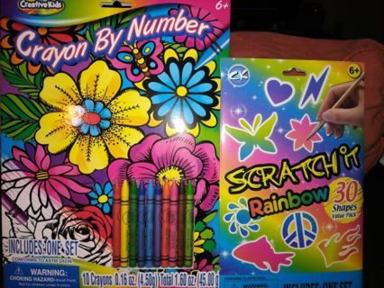 COLOR BY NUMBER and SCRATCH IT RAINBOW=Free shipping
