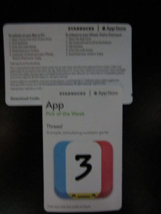 Threes! Apple Game App Code Card