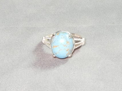 RING BEAUTIFUL STERLING SILVER RING WITH TURQUOISE RING HAS BEEN TESTED SIZE 6 WOW