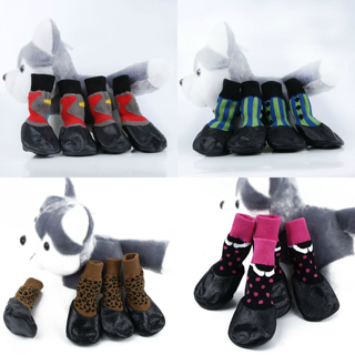 Pet Boots Socks Medium Dog Waterproof Rain Shoes Non-slip Rubber Puppy Shoes New