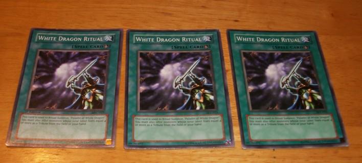 3X White Dragon Ritual Yugioh Cards, 2X - #SKE-025 & 1 - #MFC-027