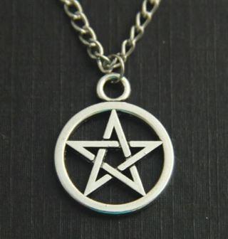 Pentagram Pentacle Pendant Chain Link Necklace Pentagram wicca wican pagan goth nature unisex