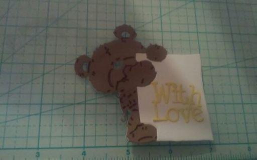Bear w/sign die cut