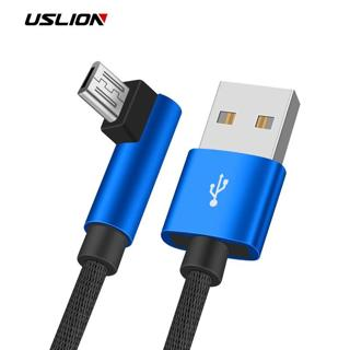 USLION 90 Degree Micro USB Cable 2A Fast Charger For Samsung Xiaomi Huawei Android Cable Mobile Ph