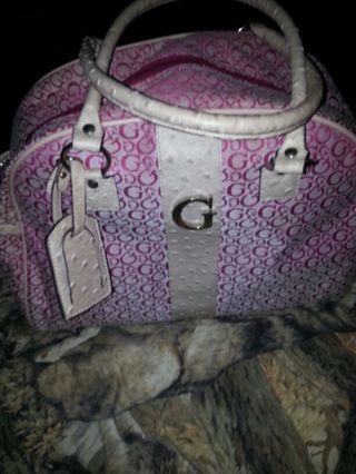 Free Pink Guess Diaper Bag W Changing Pad