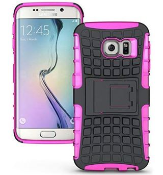 1 NEW SAMSUNG GALAXY s6 PHONE CASE Pink HYBRID Scratch-Resistant Shock Absorbent Tire non slip Grip