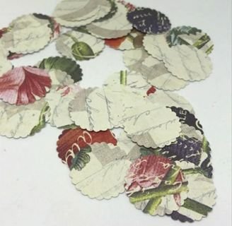 "Old Writing and Flowers 1"" Scalloped Round Cardstock Cutouts 45 pieces"