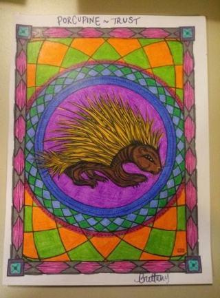 Completed Porcupine Coloring Page