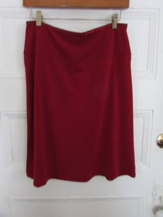 Red Merona Knit Skirt Sz M Satin Waistband