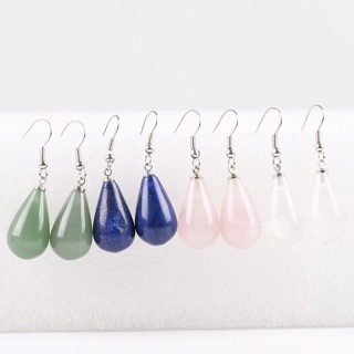 [GIN FOR FREE SHIPPING] Classic Tear Water Drop Natural Stone Beads Crystal Dangle Earring