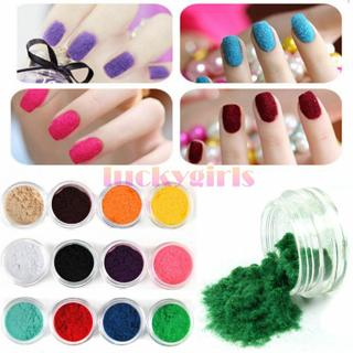 12 Pots Colors Nail Art Velvet Flocking Snow Powder Dust Acrylic UV 3D Tip DIY
