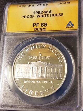 1992-W White House Commemorative Silver Dollar PF 68 DCAM