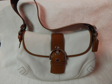 Free: Coach Soho Shoulder Purse White and Tan Leather F10192 ...