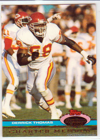 Derrick Thomas, 1991 Topps Stadium Club Charter Member Card, Kansas City Chiefs