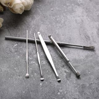 [GIN FOR FREE SHIPPING] 5Pcs Stainless Steel Ear Pick Wax Curette Remover Ear Cleaner