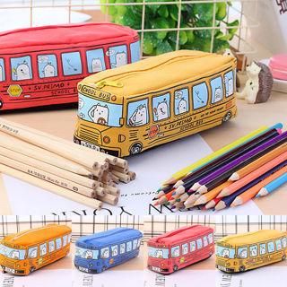 Canvas Cartoon Bus Pen Pencil Case Makeup Box Storage Zipper School Bag