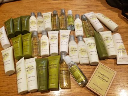 34 travel size shampoo, soap, conditioner, lotion, body wash, mouth wash lot Crabtree and Evelyn