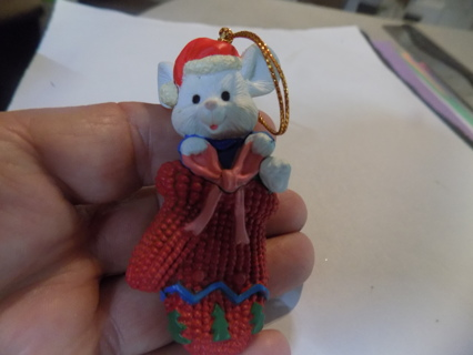 3 inch resin white mouse in red knitted mitten ornament