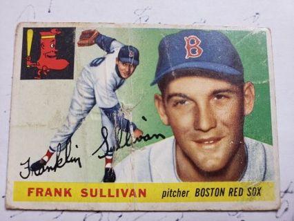 1955 Topps Frank Sullivan Boston Red Sox Vintage Baseball card (rip in center of card)