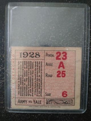 1928 Army Vs. Yale University Authentic Game Ticket Stub