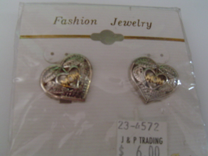 NEW - Mom Heart Earrings, Silver Tone w/ Gold Tone Accents
