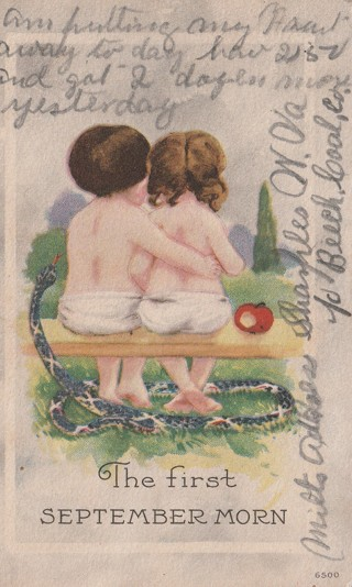 Vintage Used Postcard: 1916 The First September Morn