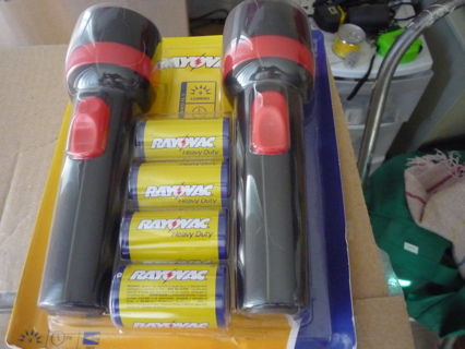 BNIP 2 Pack Rayovac Flashlights With Batteries