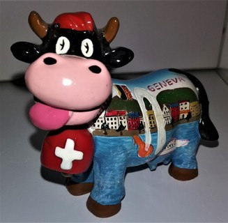 """Very small (3"""" long) heavy (4 oz.) Geneva, Switzerland strong ceramic Cow - VG collectible condition"""