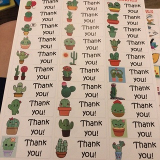 Cactus thank you Labels