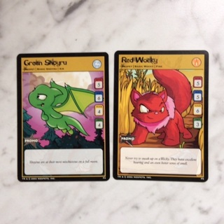 Neopets TCG 2 Card Lot, Green Shoyru and Red Wocky