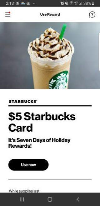 $5 Starbucks egift card