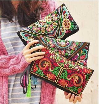 Women Bag Handbag Purse National Retro Embroidered Phone Change Coin New